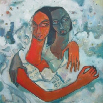 Blue and red lover - Solomon Teshome Jenbere - acrylic painting