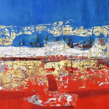 Most (Golden Gate) - Ladislav Hodný - combined painting