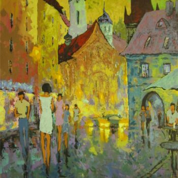 Večer v Praze - Vladimir Domničev - acrylic painting