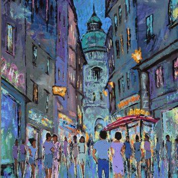 Večer ve Vídni. Goldschmiedgasse 2 - Vladimir Domničev - acrylic painting