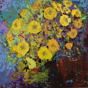 Žlutá kytice ve váze - Vladimir Domničev - acrylic painting