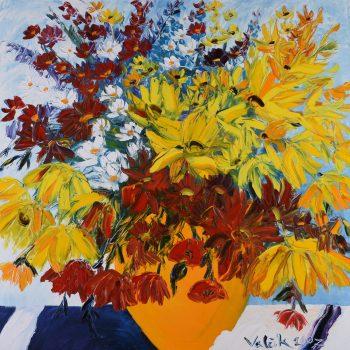 Žluté květy - Josef Valčík - acrylic painting