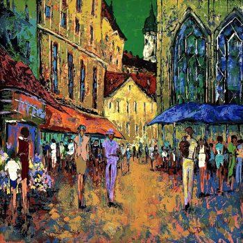 Městské trhy - Vladimir Domničev - acrylic painting